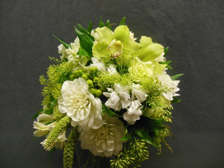 picture of brides bouquet with Orchid, Dahlias, Hypericum Fennel, Alstromeria and Millet