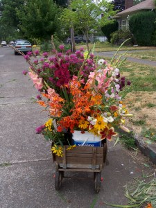 picture of wagon full of flowers