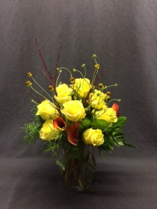 picture of yellow Rose bouquet with Calla lilies and Helenium