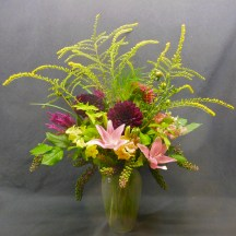 Large fall arrangement with Lilies, Dahlias, Goldenrod,