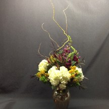 picture of Hydrangea bouquet with Snapdragons, Alstromeria and Curly Willow.