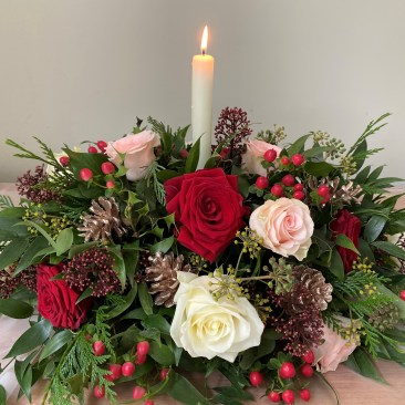 Christmas Long and Low Table Centre Piece 1