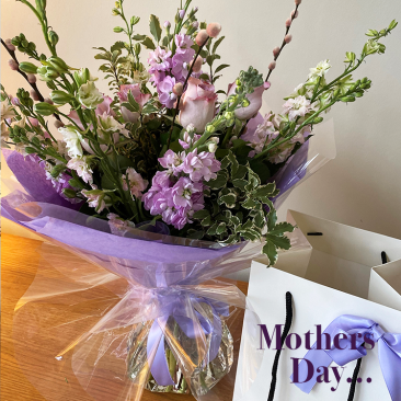 lilac stocks and pastel roses mothers day bouquet