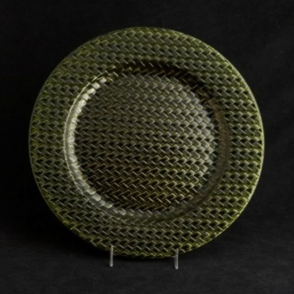 Lacquer green herringbone base plate, DC Rental