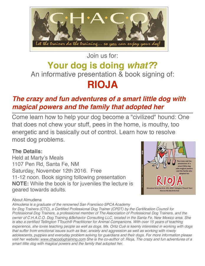 "Learn how to help your dog become a ""civilized"" hound.Book signing event in Santa Fe, NM"