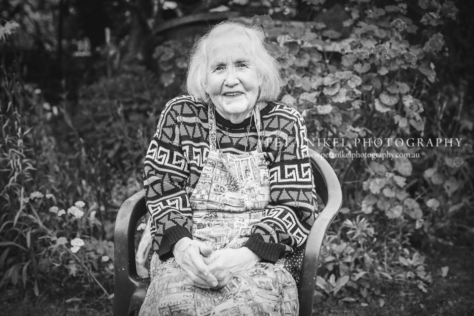black and white elderly lady