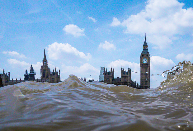 Capture Flooded Views of Cityscapes by Getting Low Above Choppy Water flooded4