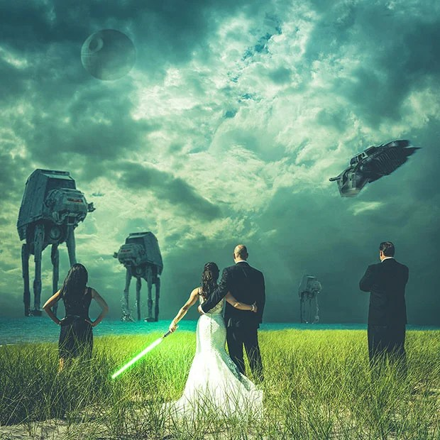 Star Wars themed Wedding Photo Shows Newlyweds Battling the Empire starwarswedding