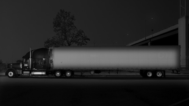 Black and White Night Photos of Dormant 18 Wheelers at Truck Stops blackdog13
