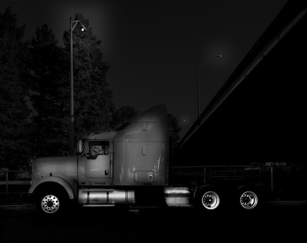 Black and White Night Photos of Dormant 18 Wheelers at Truck Stops blackdog3