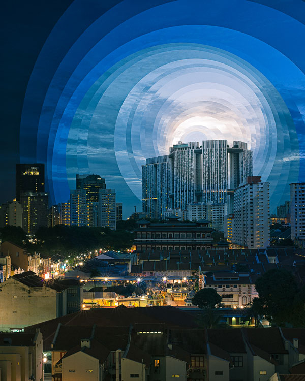 These Creative Time Slice Photo Collages Blend Day and Night night day chinatown stack circles 4x5 flat
