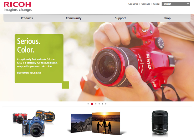 Ricoh Branding Takes Over Pentax Sites in Wake of Recent Name Change ricohrebrand2