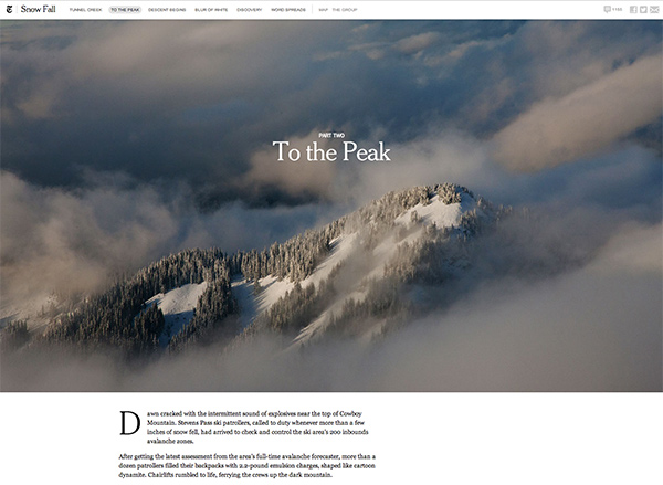 """Snowfall"" design with full width images"
