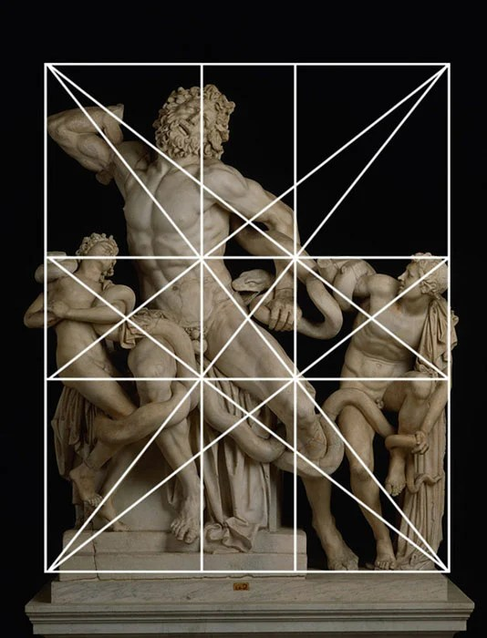"""Laocoon & His Sons"" is a Greek sculpture that was constructed by using Dynamic Symmetry."