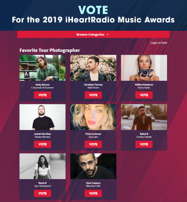 iHeartRadio Music Awards Adds 'Favorite Tour Photographer