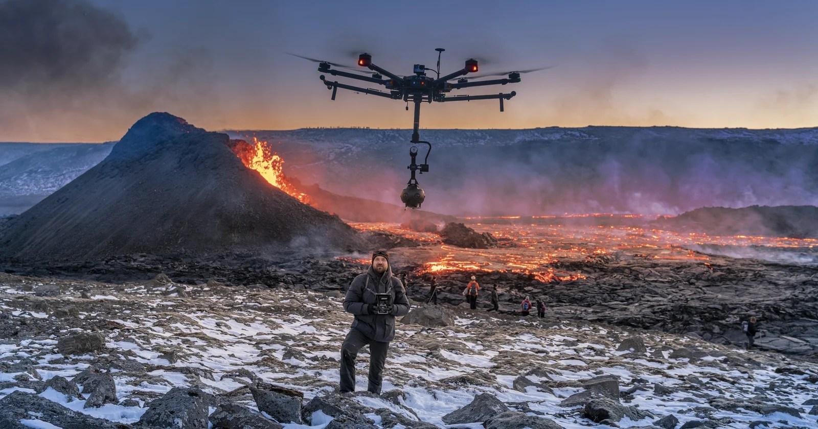 Duo cattura il primo video di un drone VR 8K sul vulcano islandese