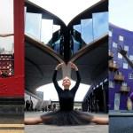 Foto di ballerini che si fondono con l'architettura londinese