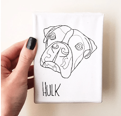 quadro de cachorro artesanal
