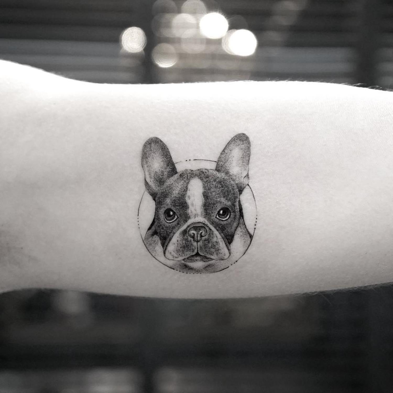 tatuagem de cachorro delicada bulldog frances