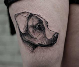 tatuagem de cachorro delicada-jack