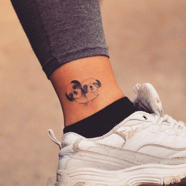 tatuagem de shih-tzu delicada