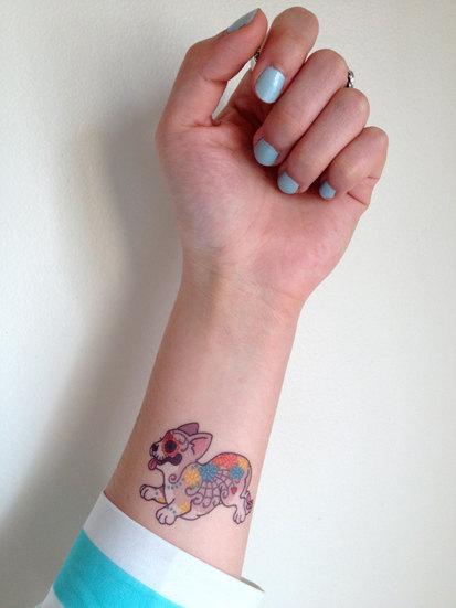 corgi tatuagem cachorro colorida