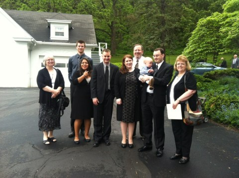 Family gathered for Grandpa's funeral.