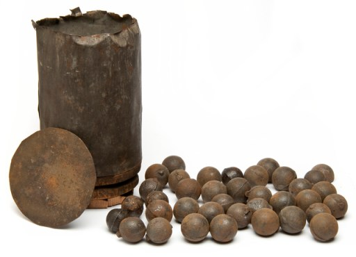A disassembled canister round. (image from Wikipedia)