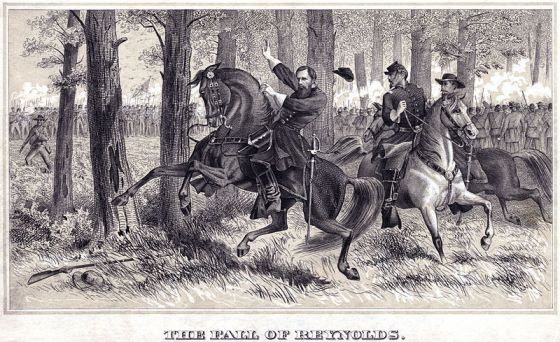 The Death of General Reynolds. Illustration by Alfred Waud available at the Library of Congress.