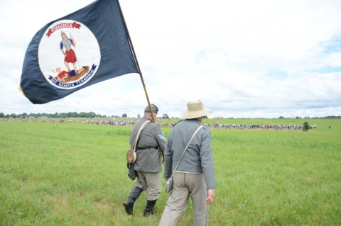 The living historian flag bearer. Sic Semper Tyrannis, indeed! That's Garnett's Brigade to our front left.