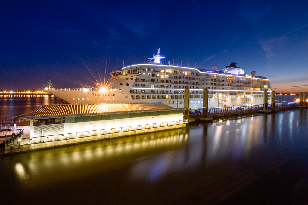 The World cruise ship docked in Liverpool.