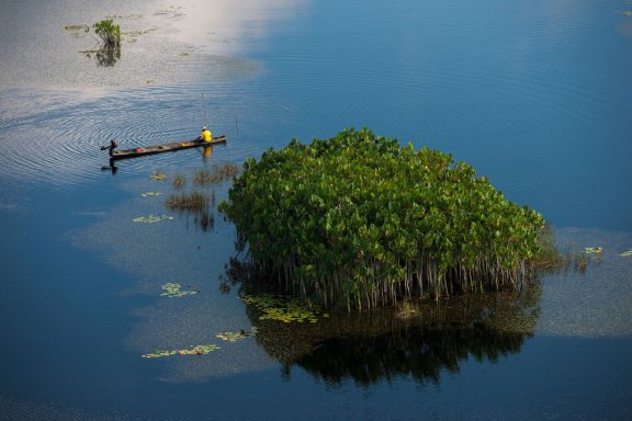 A fisherman stops his boat near mangrove trees. Photo by aerial photographer Pete Oxford.