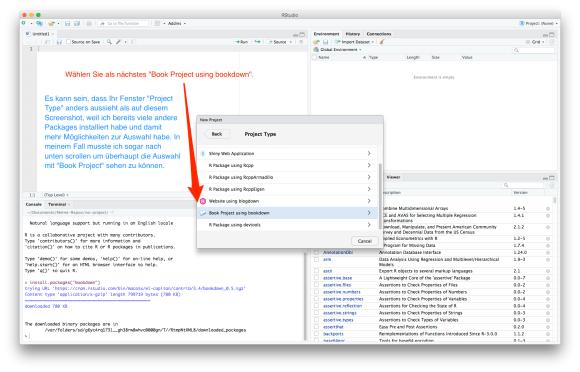 screenshot: Buchprojekt mit bookdown eröffnen