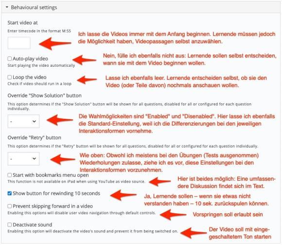 """Bildschirm der Einstellungen mit meinem Empfehlungen für das """"Interactive Video""""-Modul von h5p"""