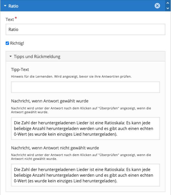 Rückmeldungen für ein Question Set mit Multiple-Choice-Inhaltstyp