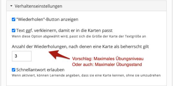 Kommentierter Screenshot: Ausschnitt aus dem deutschen Formular für Dialog Cards: Einstellungen