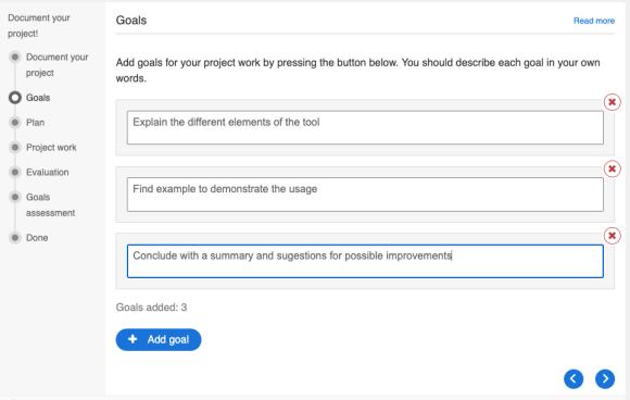 Screenshot der Erstellung von Zielen auf der 'Goal page' im H5P Documentation Tool