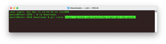 H5P Library Installation Step 1: Screenshot of the command-line interface with the git clone command.