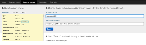 Screenshot: Search by example displays the citation style of a book example.
