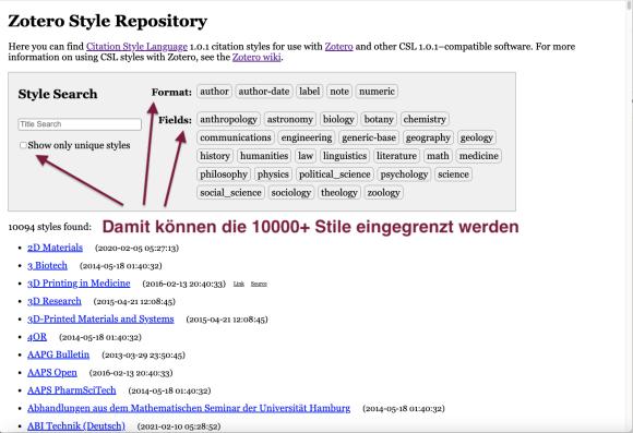 Screenshot vom Zotero Style Repository mit Pfeilen, die die Stellen anzeigen, wo Filter für die Eingrenzung der Suche gesetzt werden können