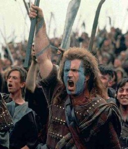 Mel Gibson's character in Braveheart leading troops to battle
