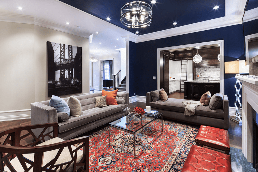 Navy Living Room With Red Accents Peter Balsam Associates