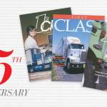 First Class 35th anniversary logo beside three covers from the 1980s