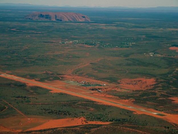 uluru airport and resort from the air