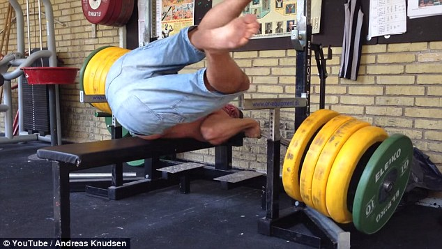 The ultimate clip from the gym fail videos: a guy drops a bench press on his neck