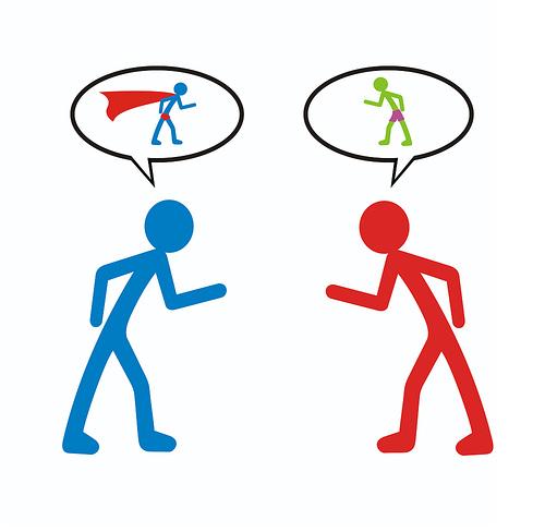 Stick figures arguing