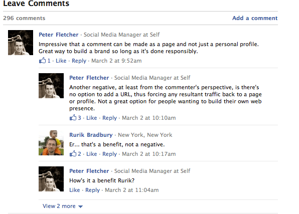Facebook comments on Techcrunch