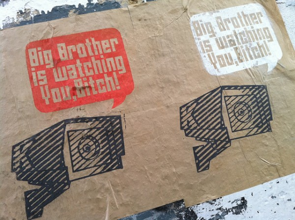 Wall poster with the words Big Brother is watching you bitch