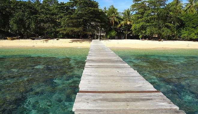 Walkway on a tropical beach