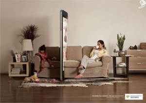 A mother physically separated from her child by a giant smartphone